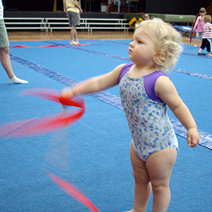 Twirling ribbon at kindergym